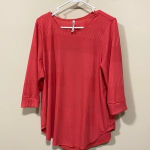 Azules 3/4 sleeve top small coral